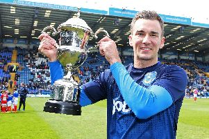 Jed Wallace with the 2014-15 News/Sports Mail Pompey Player of the Year award
