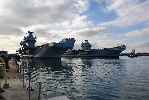HMS Prince of Wales (left) and HMS Queen Elizabeth side by side in Portsmouth. Picture: Habibur Rahman