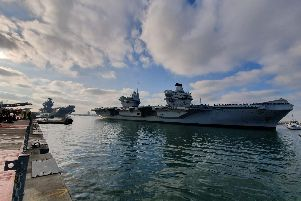 HMS Queen Elizabeth docking in Portsmouth Naval Base alongside HMS Prince of Wales. Picture: Habibur Rahman