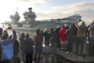 Crowds gathered to welcome HMS Queen Elizabeth home. Picture: LPhot Dan Rosenbaum