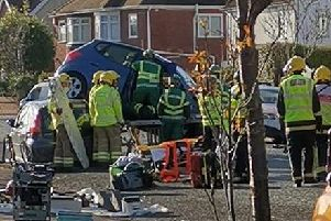 A driver is extricated from a vehicle after a three-car crash in Jellicoe Road, Gosport, at about 11.35am on Wednesday, December 4.