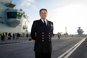 Captain Steve Moorhouse, commanding officer of HMS Queen Elizabeth, on the ship's flight deck''Picture: Habibur Rahman