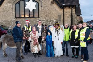 Lord Mayor of Portsmouth, David Fuller, with organisers and participants in the Nativity Walk.'Picture: Duncan Shepherd