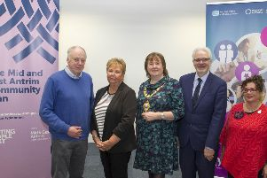 The Mayor, Cllr Maureen Morrow, with Dr Brian Hunter, Marjorie Hawkins, chair of Mid & East Antrim Loneliness Network, MC Hugh Nelson, NHSCT and Cllr Geraldine Mulvenna, Dementia Choir).