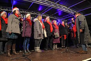 The Spinnaker Chorus performing at Cosham Christmas Light. Picture: Malcolm Wells (271119-0301)