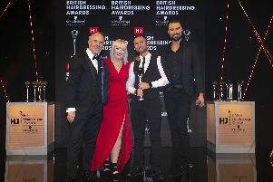 Julian Crane, Jayne Lewis-Orr, Andrew Smith and Rylan Clark-Neal at the HJ British Hairdressing Awards.