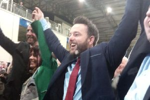 Colum Eastwood celebrates victory in Magherafelt.