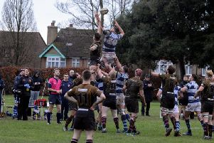 Chichester and Camberley vie for lineout honours / Picture: Kate Shemilt