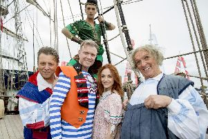 Jaymi Hensley as Peter Pan, The Grumbleweeds as the pirates, Darren Day as Smee and Cassie Compton as Wendy