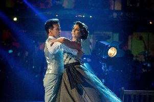 Emma Barton with her dance partner Anton Du Beke. Picture: Guy Levy/BBC/PA Wire