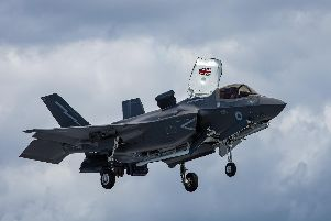 Imagery released by the MOD show UK F-35 Lightning jets landing, taking off and hovering  onboard Britains next generation aircraft carrier, HMS Queen Elizabeth for the first time.