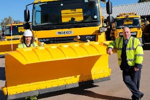 Cllr Jeff Clarke with some of the new gritters