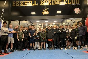 Bexhill Boxing Club boxers and coaches at the club's completely refurbished gym