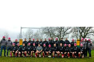 The Rugby Welsh match squad at Mellish on Saturday ready for their Midland Junior Vase semi-final - in their Oddball hats supporting the cancer charity