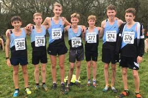 Rugby & Northampton AC's Under 15s boys are Midlands champions. (From left) Ben Willison, Tom Tyler, Finbar Myers, Finlay Ward, Lewis Panter, Jake Hope and Aidan O'Brien