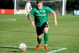 Eastbourne Borough winger Dean Cox in action during his loan spell at Burgess Hill Town. Picture by Steve Robards.