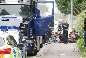 More than 30 suspected illegal immigrants were found in a lorry in Portsmouth in September last year. Picture: Habibur Rahman