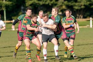 Warwickshire 1 League action between Rugby Lions Crusaders and league leaders Old Laurentians 2nd XV