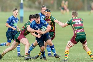 Saints and Old Laurentians playing in November's first league derby at John Tomalin Way