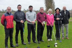 Captains' drive-in (from left)  Dave Quinn, Karl Walker, Dale Marson, Camillus McCarron, (Club Captain), Linda Long ( Lady Captain), Sue Tura and Paul Martin, (Club President.)