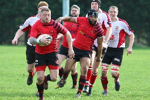 Phil Reed on the charge for Newbold in their win over Hereford, with Duzza Ziba in support   (Pictures by Steve Smith)