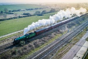 Photographer Russell Pinks captured the moment the locomotive travelled through Hillmorton on its way to Rugby.