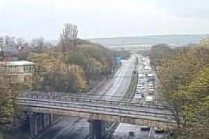 Drivers stranded at the scene of the bridge strike on the M45. Pic via Highways England / www.motorwaycameras.co.uk