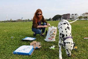Yvette Davis and her Dalmatian Lola collect rubbish including pizza boxes on Southsea Common this morning. Photo: Morten Watkins/Solent News & Photo Agency