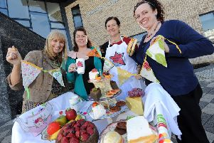 Pictured left to right are; Julie Cusick, Promotions Officer at Volunteer Now, Grainne McCloskey from The Big Lunch, Mary Caldwell, Chair of Armagh Child Contact Centre and Christine Hall, Area Co-ordinator for Childline Schools Service