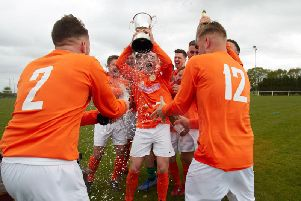 Rugby Borough celebrate after their final league game with Ellistown