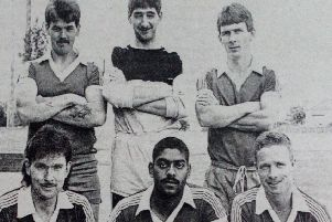 Forthill Swifts five-a-side football  team, winners of the Ballee Community High School Shield, and the Ballymena Civic Week Trophy. (Back row) J. Young, G. Foster, S. McCormick (front row) A. Taylor, D. White and P Reid. 1989.