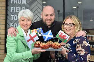 Pamela Ballantine with Garyth Quigley, Key Account Manager, Cutting Edge Services and Rhonda Montgomery, CEO of Butchery Excellence International in Aughnacloy