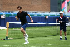 EASTBOURNE, ENGLAND - JUNE 24: Andy Murray of Great Britain in action during a practice session during day one of the Nature Valley International at Devonshire Park on June 24, 2019 in Eastbourne, United Kingdom. (Photo by Charlie Crowhurst/Getty Images for LTA) SUS-190624-193619002