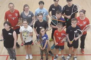 The youngsters with Graham Stevenson and Zoe Shardlow