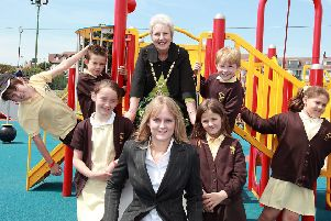 Pictured (from left, back) George Parkinson, Ellis Cobb, Mayor of Skegness Coun Pat Phillips, William Fisher and Meg Harriman; (front) Mary Rippon, youth councillor Laura Kirk, and Natasha Scott.