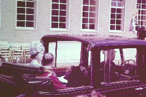 The Queen Mother leaving the Town Hall buildings in 1961