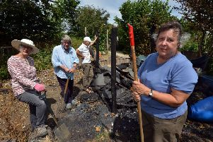 Lesley Healey (front) and allotment members. Photo by Peter Cripps