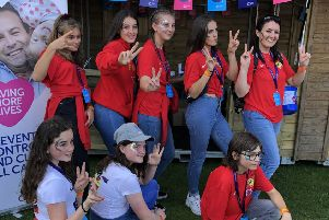 The netball contingent enjoy their World Cup experience.