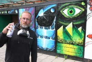 'King of the Can' Tony Eadie with some of his work. Photo: Derek Martin