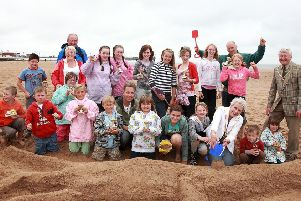The sand sculpture contest was almost ruined by rain, but luckily it held off long enough for the entries to be judged.