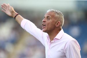 Keith Curle was animated throughout the game on Saturday. Picture: Pete Norton