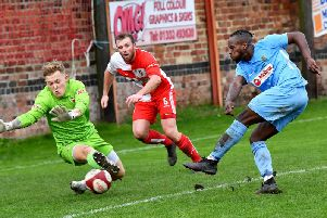 Jazz Luckie scores the winner at Gresley on Saturday