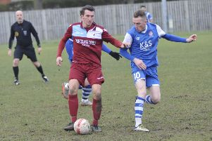 Liam Ward on the ball during Little Common's 2-0 defeat at home to Saltdean United. Picture by Simon Newstead