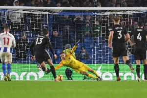 Brighton keeper Mathew Ryan is unable to keep out Ashley Barnes penalty on Saturday. Picture by PW Sporting Photography