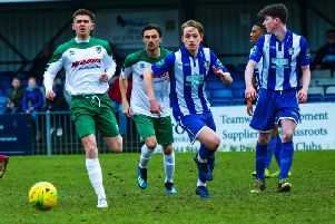 Doug Tuck in a race for possession at Bishop's Stortford / Picture by Tommy McMillan