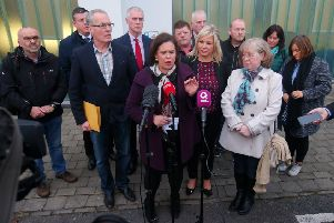 Sinn Fein leader Mary Lou McDonald at Shaftesbury Recreational Centre in the lower Ormeau area of south Belfast after meeting families of Troubles legacy killings