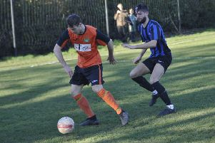 Two-goal George King on the ball during Westfield's 5-1 win at home to Worthing Town