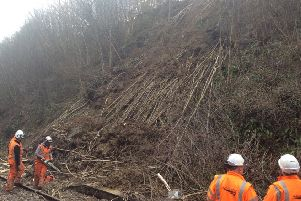 A landslip is causing major disruption on the railway line between Robertsbridge and Tunbridge Wells. Photo courtesy of Southeastern