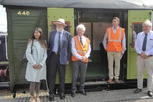 Bexhill and Battle MP, Huw Merriman with the Rother Valley Railway team at Robertsbridge in October 2017. SUS-170510-123637001