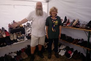 9th Bexhill Scout Learders Paul and Tracey Plim at one of their previous Jumble Sales SUS-190320-131437001